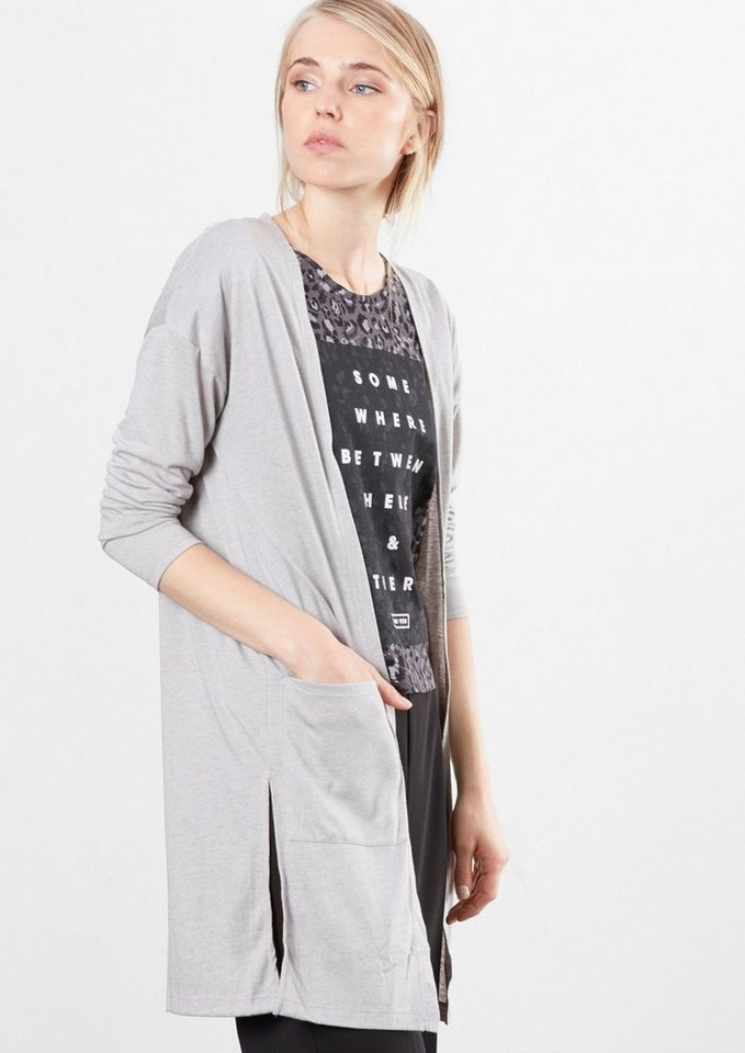 Q/S designed by Melierter Jersey-Mantel in light grey melange