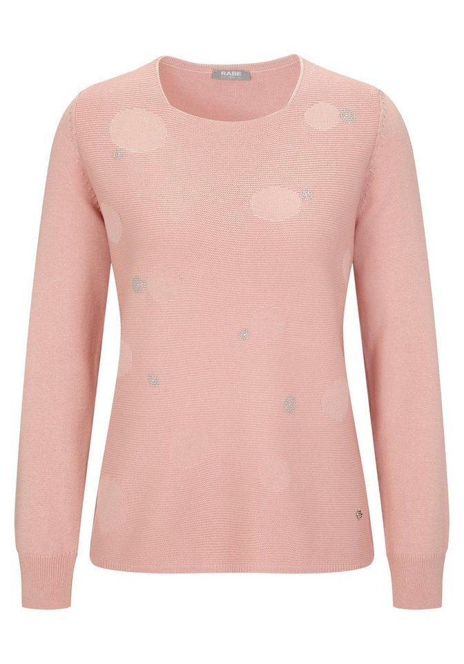 Rabe Pullover mit Ziersteinen und Strickmuster in PUDER