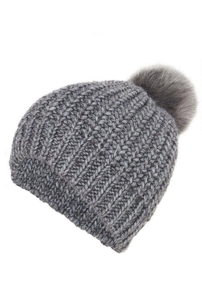 HALLHUBER Mütze mit Pompon aus Fake-Fur in mittelgrau-melange