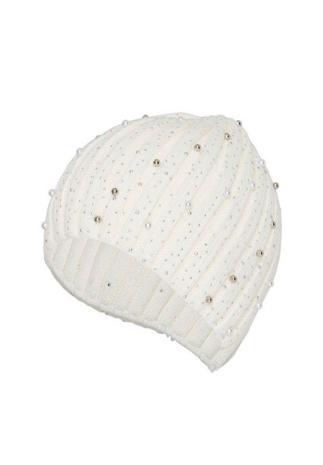HALLHUBER Rippstrickmütze mit Perlen in offwhite
