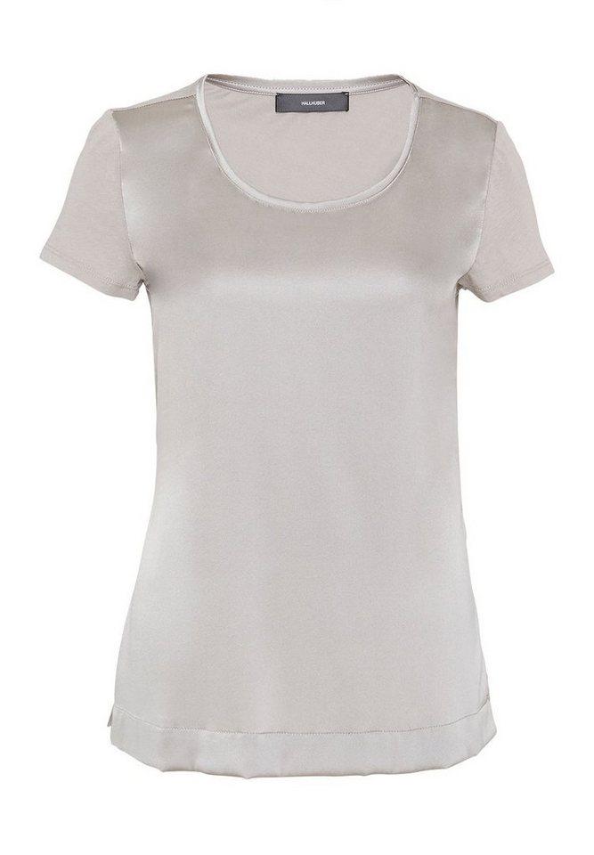 HALLHUBER T-Shirt im Fabric-Mix in silbergrau