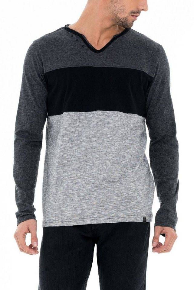 salsa jeans Langarm T-Shirt in Black