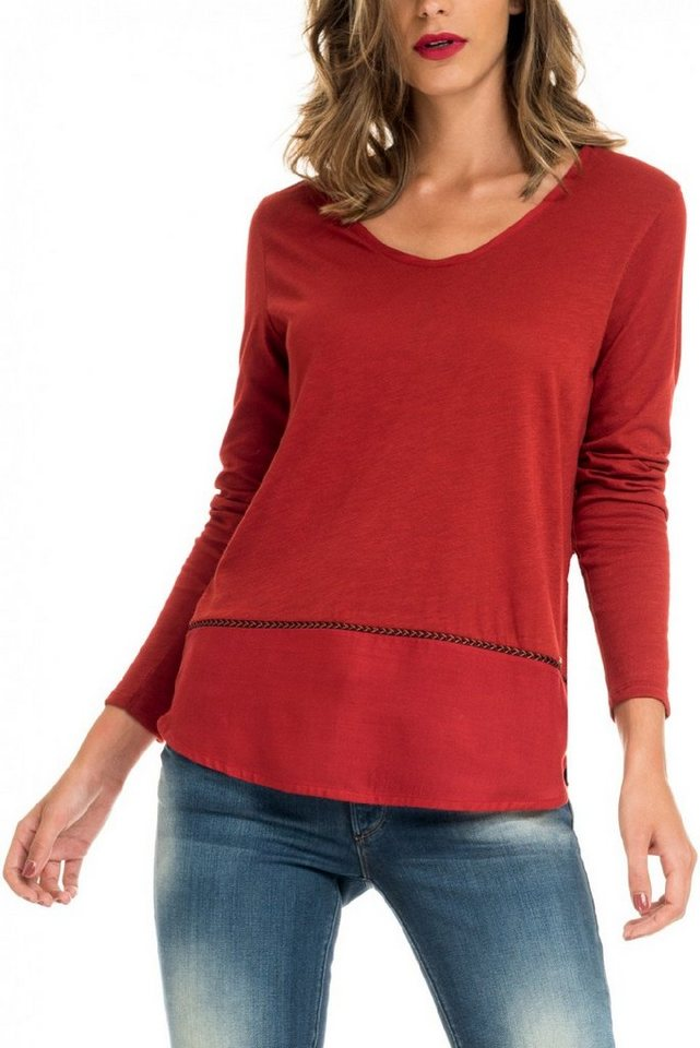 salsa jeans T-Shirt mit Arm in Red