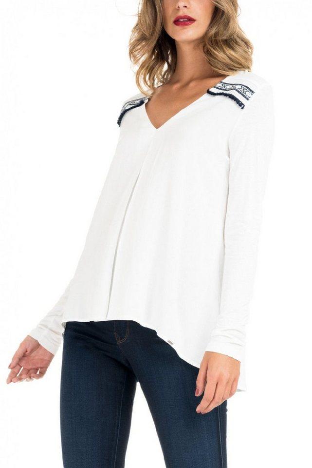 salsa jeans T-Shirt mit Arm in White