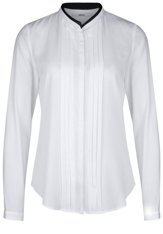 REPLAY Bluse »MIT FALTENDETAIL« in optical white