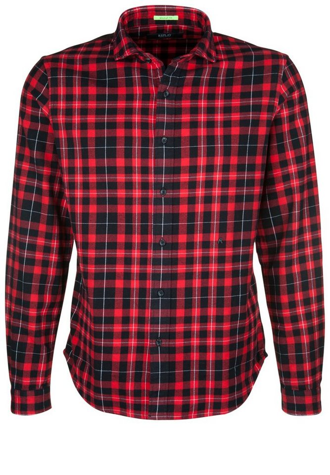 REPLAY Hemd »FLANELL CHECK« in red/black