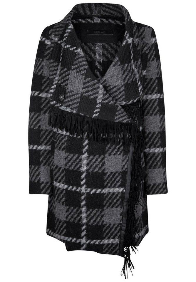 REPLAY Kurzmantel »CHECK PATTERN FRINGES« in grey/black/white