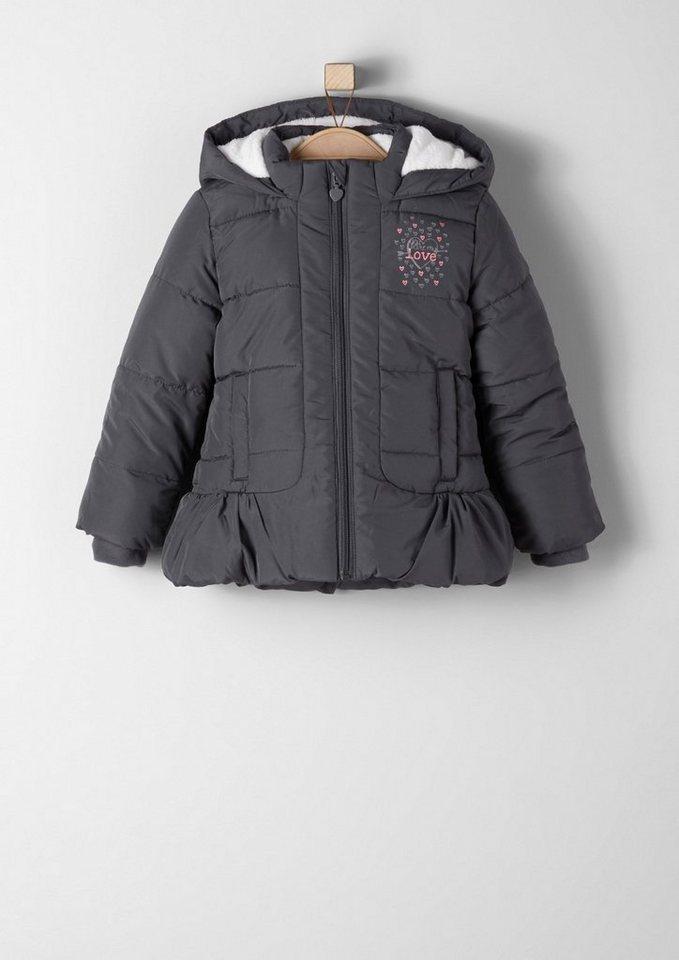 s.Oliver RED LABEL Junior Winterjacke mit Teddyfutter für Mädchen in dark grey