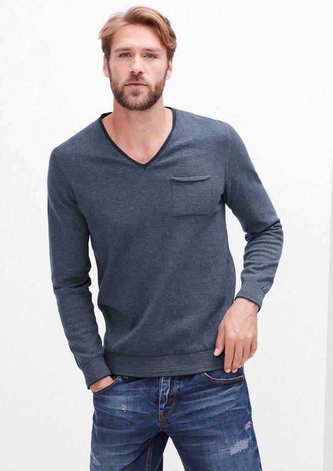 s.Oliver RED LABEL V-Neck-Pullover mit Ringeln in blend grey