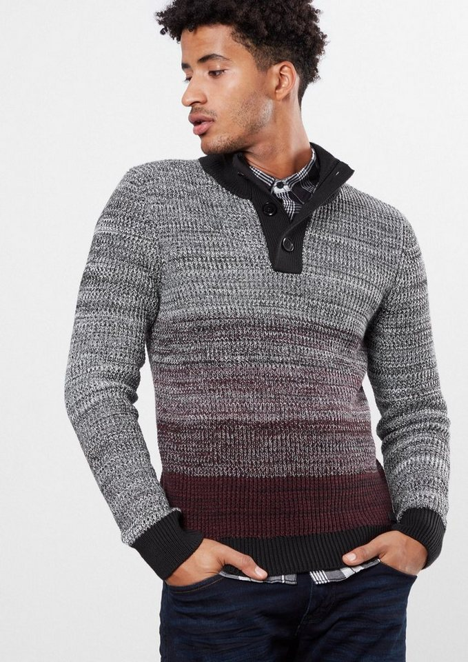 Q/S designed by Melierter Pulli mit Farbverlauf in wine red stripes
