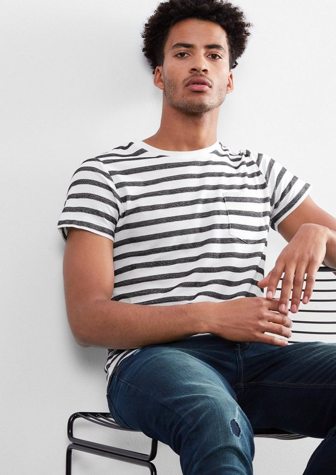 Q/S designed by Shirt mit Webmuster in white stripes