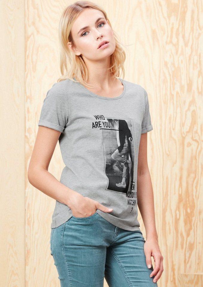 s.Oliver RED LABEL Shirt mit Fotoprint in grey melange placed
