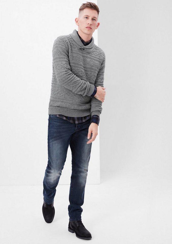 s.Oliver RED LABEL Strickpullover mit Schalkragen in blend grey