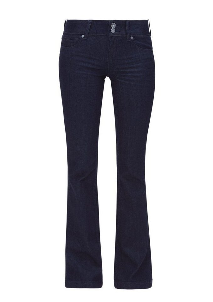 s.Oliver RED LABEL Shape Bootcut: Dunkle Stretch-Jeans in blue denim stretch