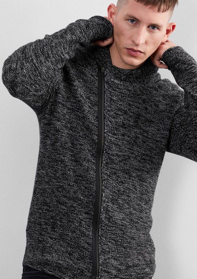 Q/S designed by Strickjacke mit versetztem Zipper in black woven