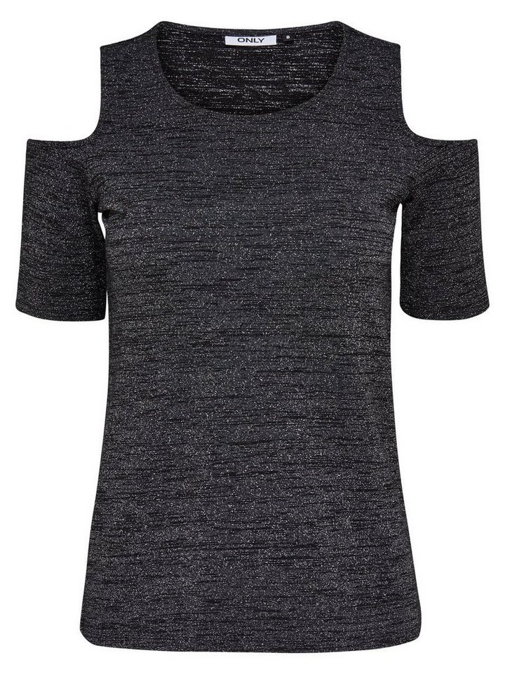 Only Cold-Shoulder- Bluse mit 2/4 Ärmeln in Black