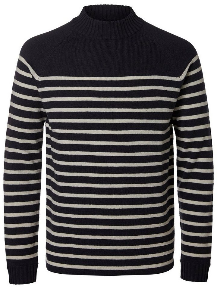Selected Gestreifter Strickpullover in Dark Navy