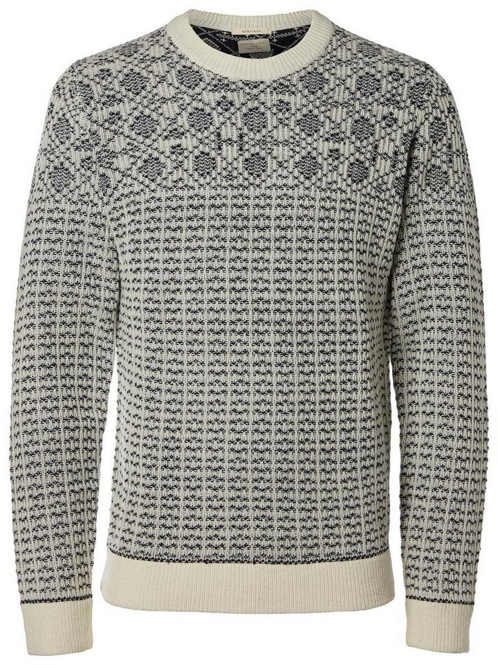 Selected Gemusterter Strickpullover in Papyrus