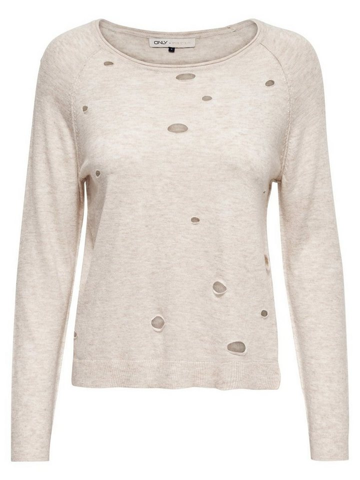 Only Gerippter Strickpullover in Whitecap Gray