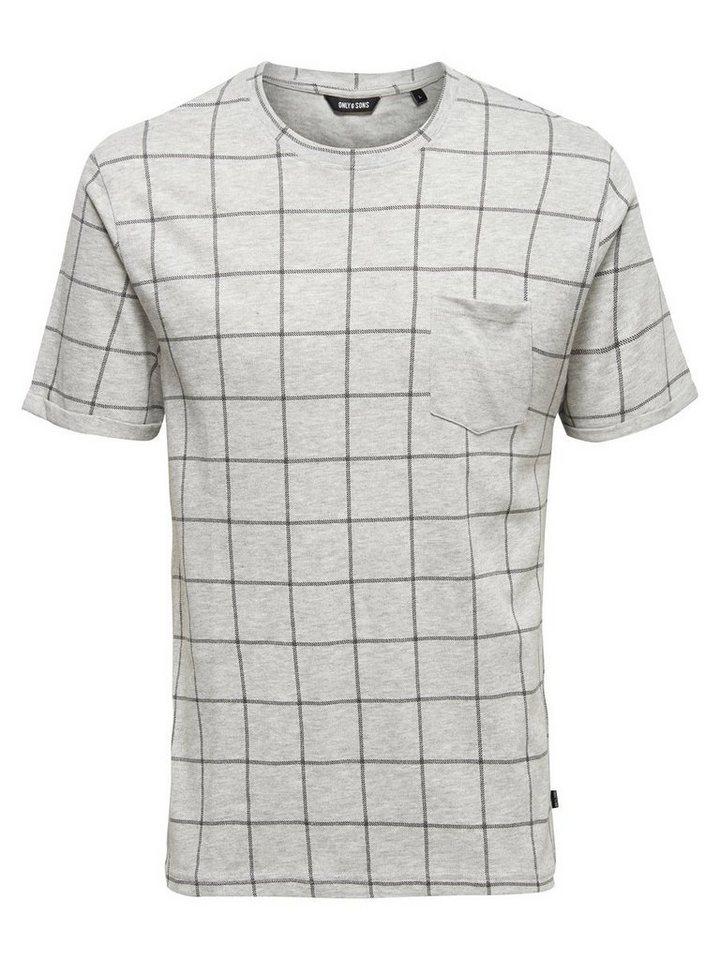 ONLY & SONS Kurzärmeliges T-Shirt in Light Grey Melange