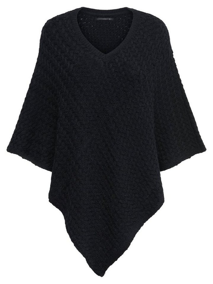 Only Gestrickter Poncho in Black