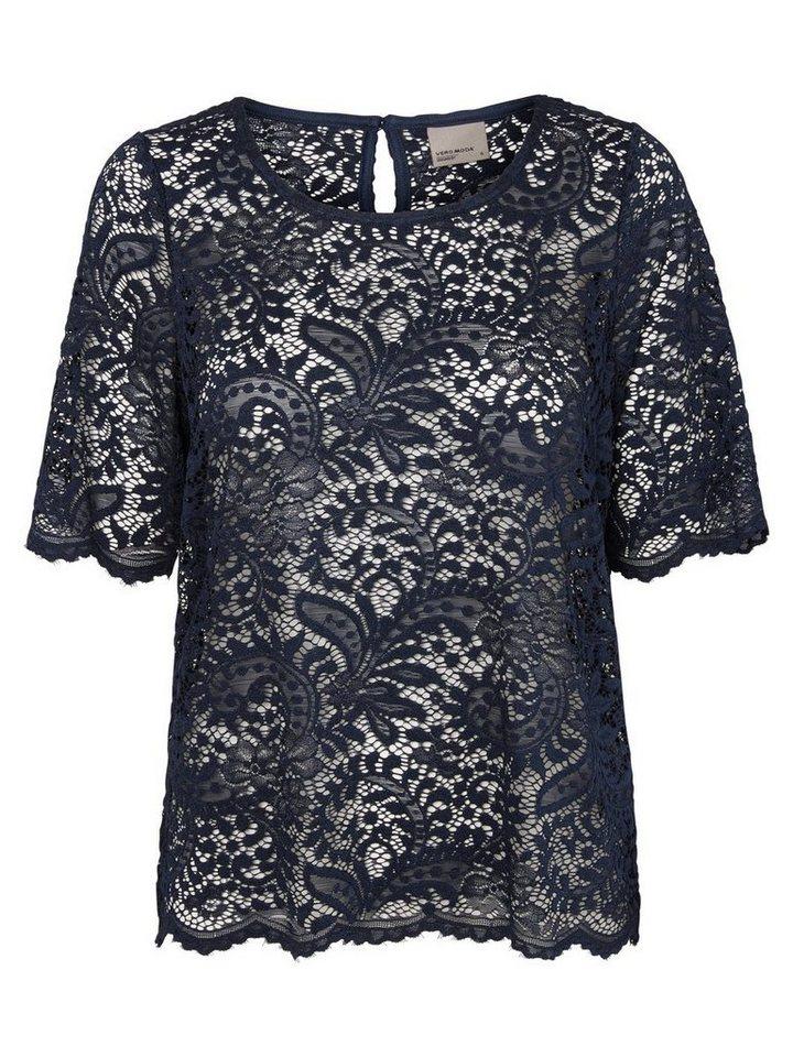 Vero Moda Spitzen- Oberteil mit kurzen Ärmeln in Navy Blazer