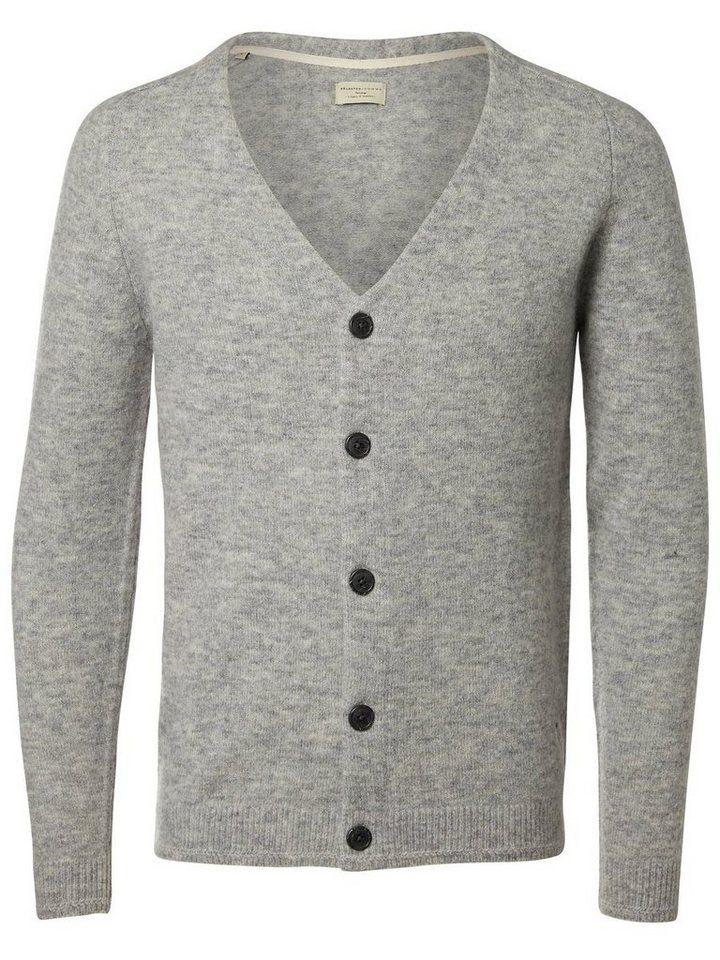 Selected Merinowoll- Strick-Cardigan in Light Grey Melange