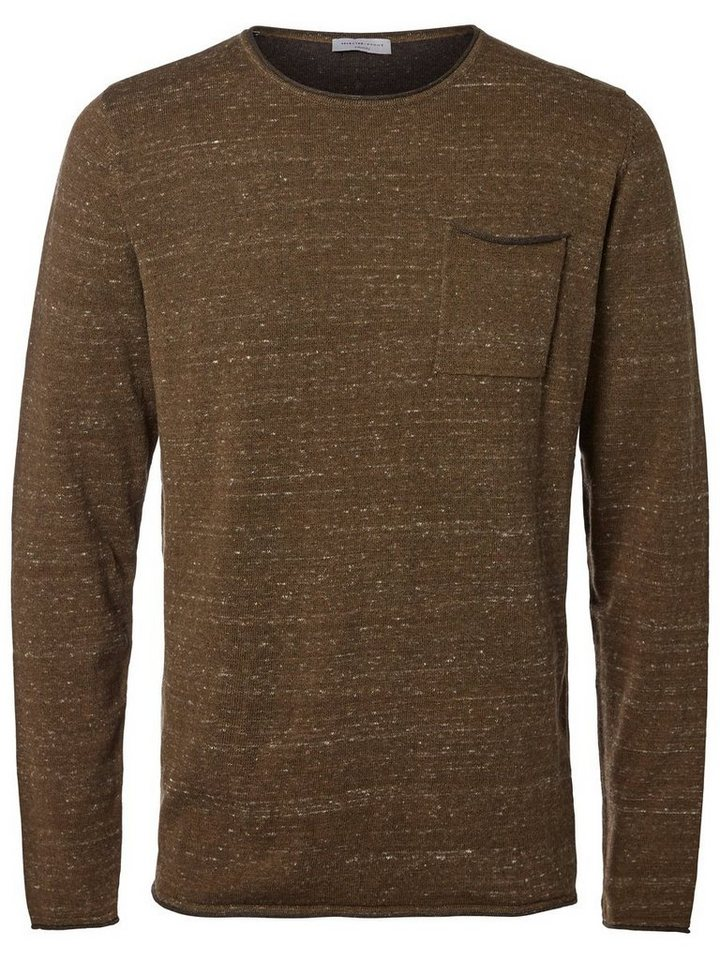 Selected Crew-Neck- Strickpullover in Beech