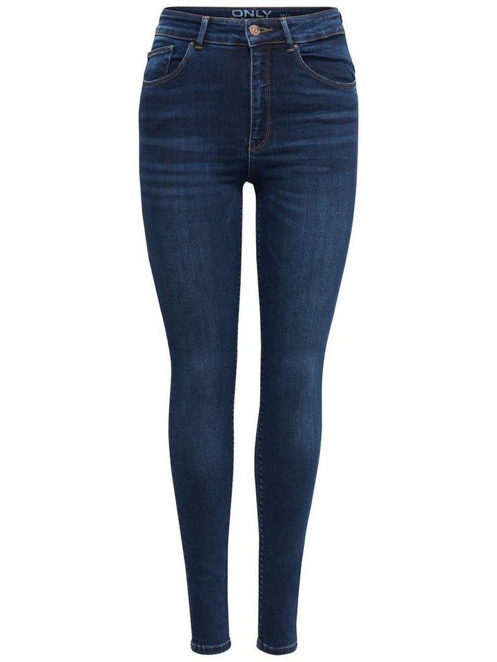 Only Piper High Waist Skinny Fit Jeans in Dark Blue Denim