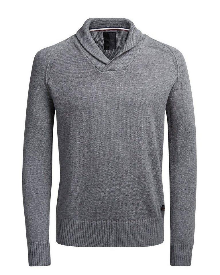 PRODUKT Einfarbiger Pullover in Grey Melange