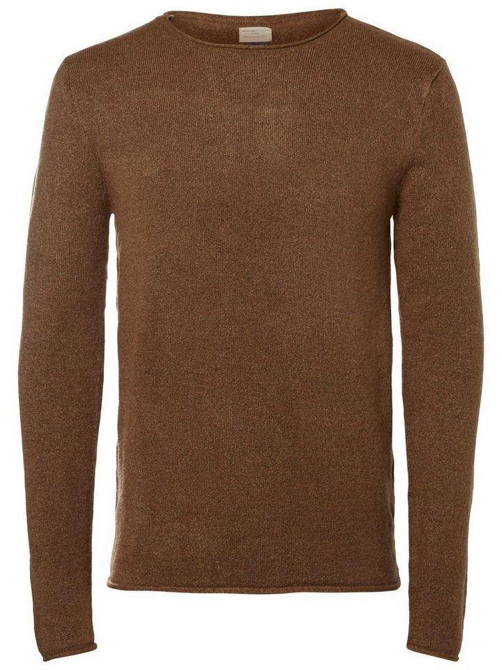 Selected Crew-Neck- Strickpullover in Camel