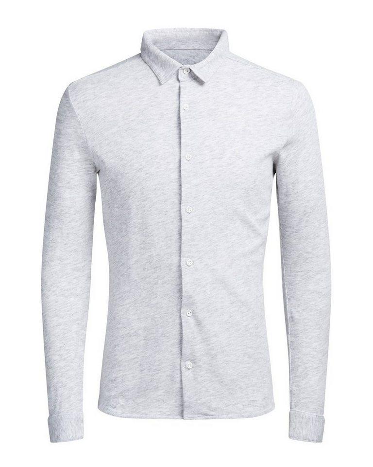 Jack & Jones Jersey- Langarmhemd in Light Grey Melange