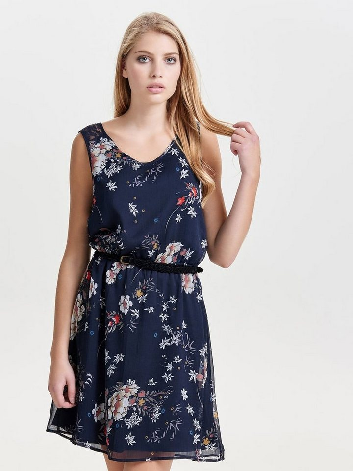 Only Blumen- Kleid ohne Ärmel in Night Sky