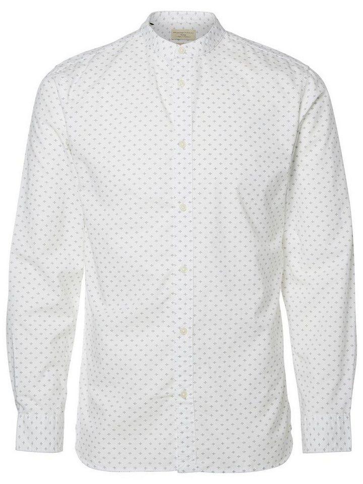 Selected China-Kragen Slim Fit Hemd in White