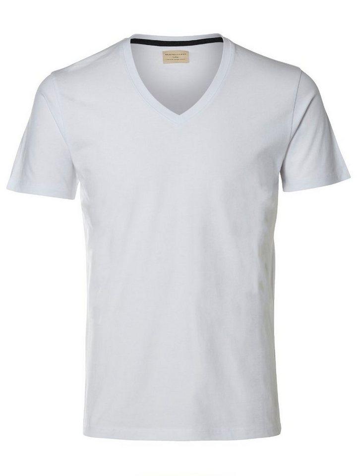 Selected V-Ausschnitt- T-Shirt in White