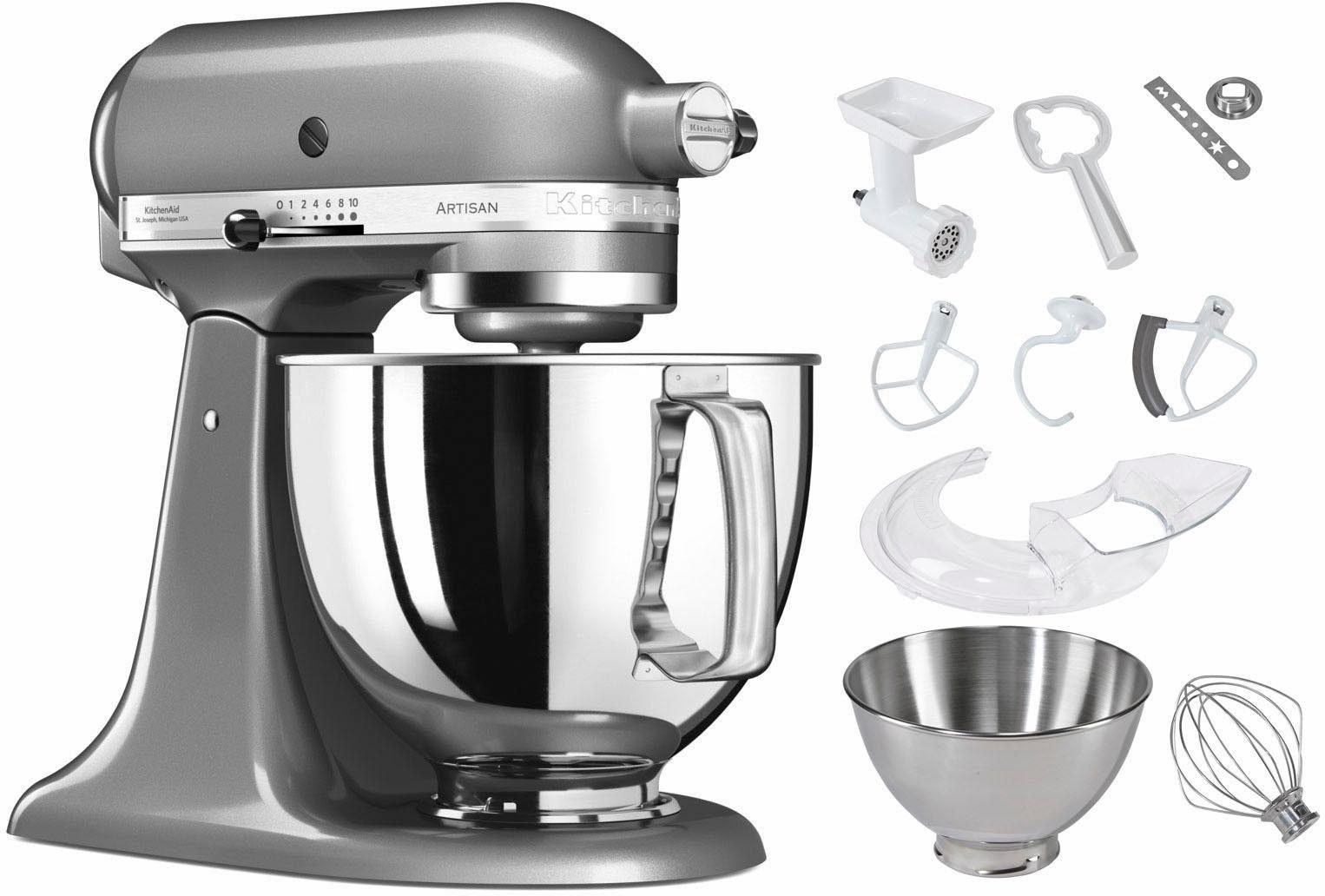 KitchenAid Küchenmaschine 5KSM125ECU Artisan, 300 W, 4,83 l Schüssel, inkl. Sonderzubehör im Wert von ca. 252,-€ UVP