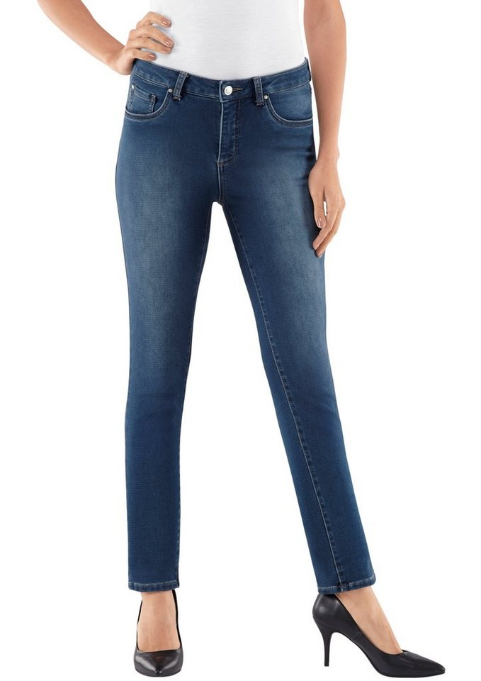 Collection L. Jeans in schmal geschnittener 5-Pocket-Form in blue-stone-washed
