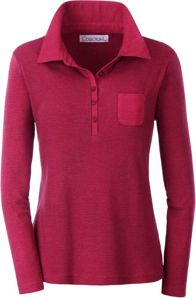 Collection L. Poloshirt in Waffelpikee-Qualität in rot