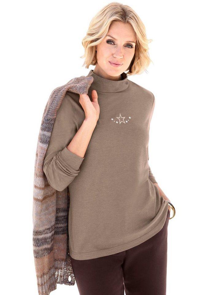 Collection L. Rollkragen-Shirt mit Ziersteinchen in beige-meliert