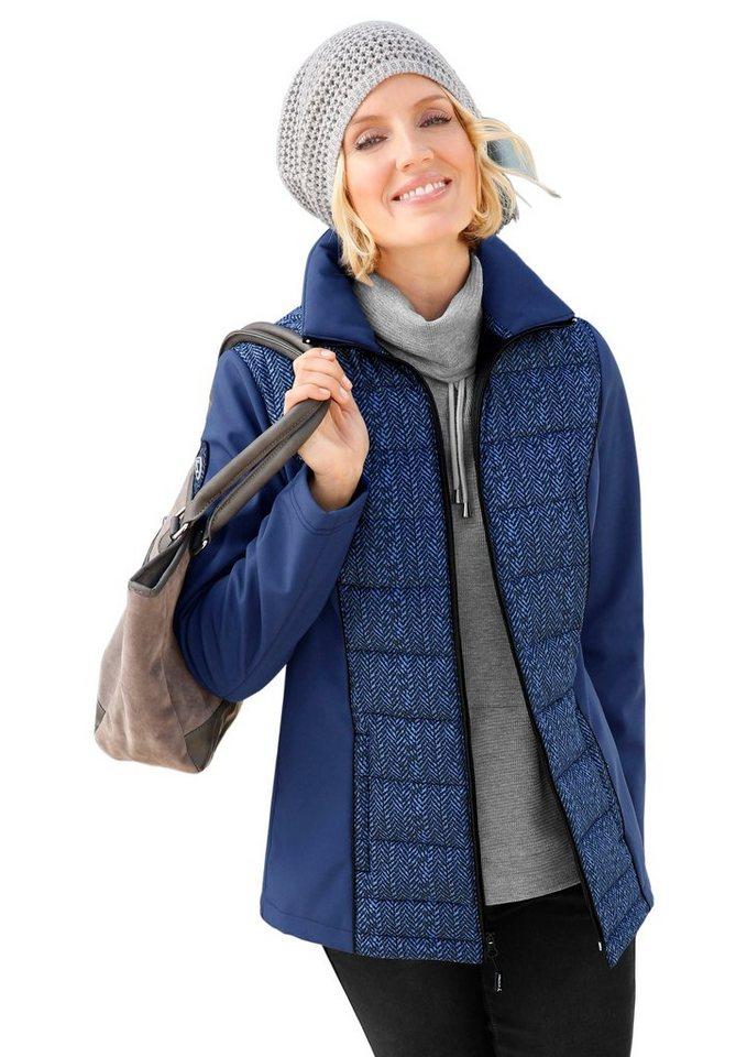 Collection L. Jacke in hübsch bedruckter Stepp-Qualität in blau-schwarz