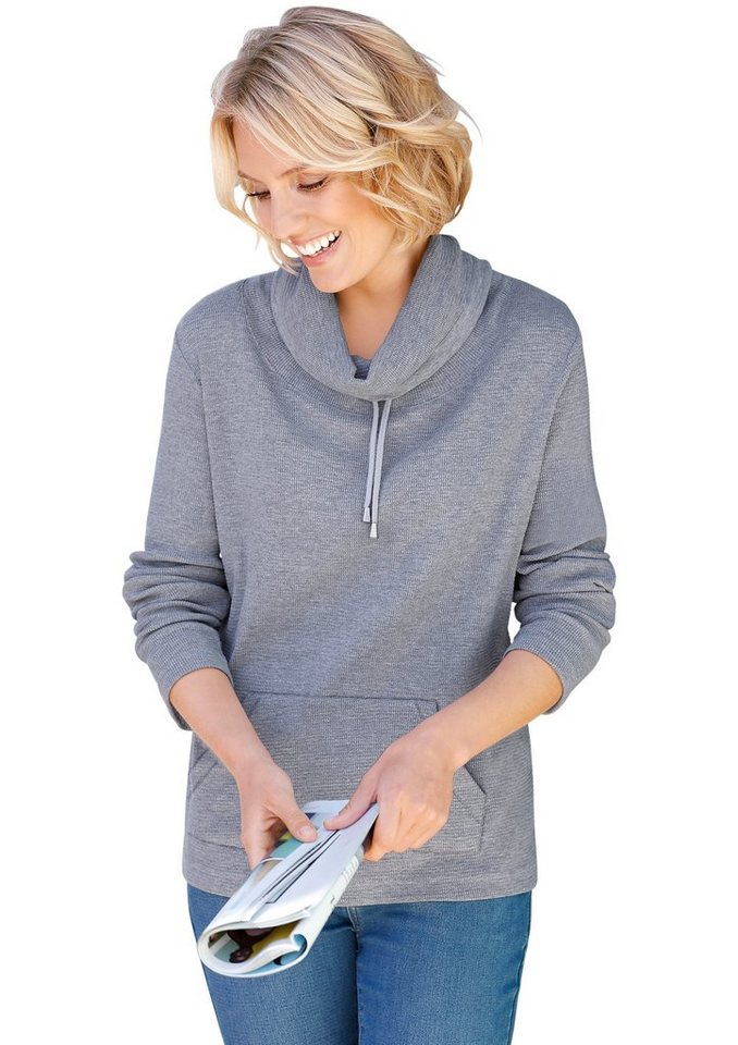 Collection L. Shirt in effektvoller Waffelstruktur in grau-meliert