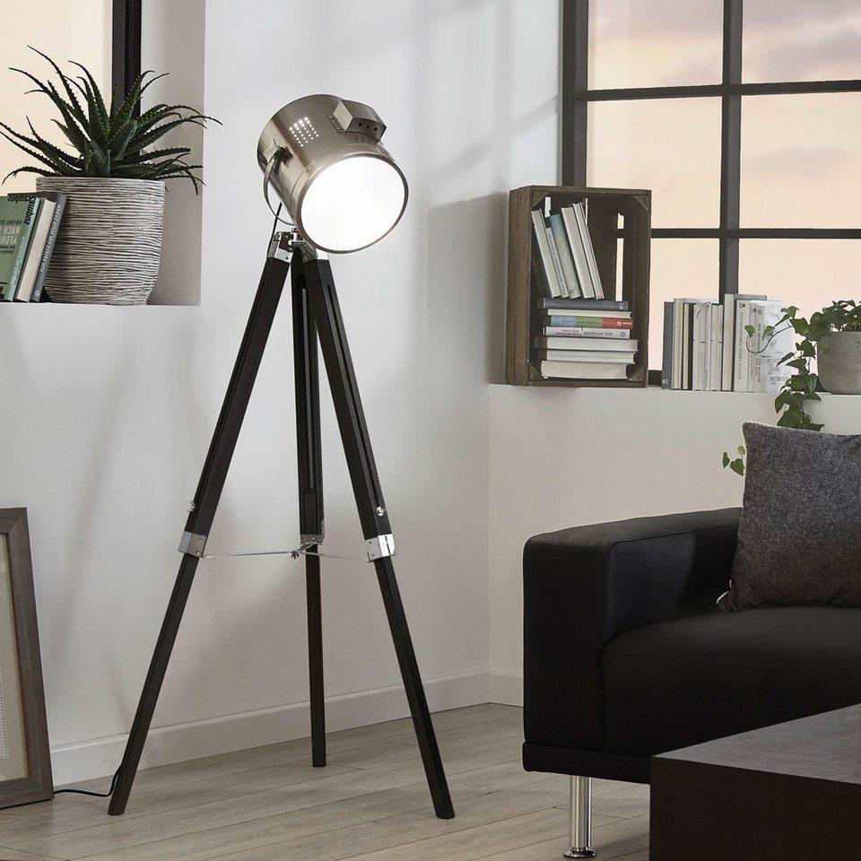 Licht-Trend Stehleuchte »Gazer Dreibein-Stehleuchte in Holz und Chrom« in Silber