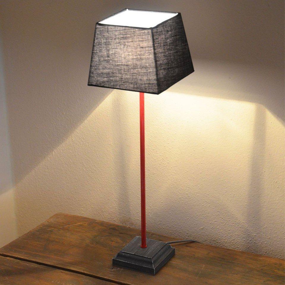 Licht-Trend Tischleuchte »Loft Retro-Tischleuchte aus Holz mit Stoffschirm« in Rot