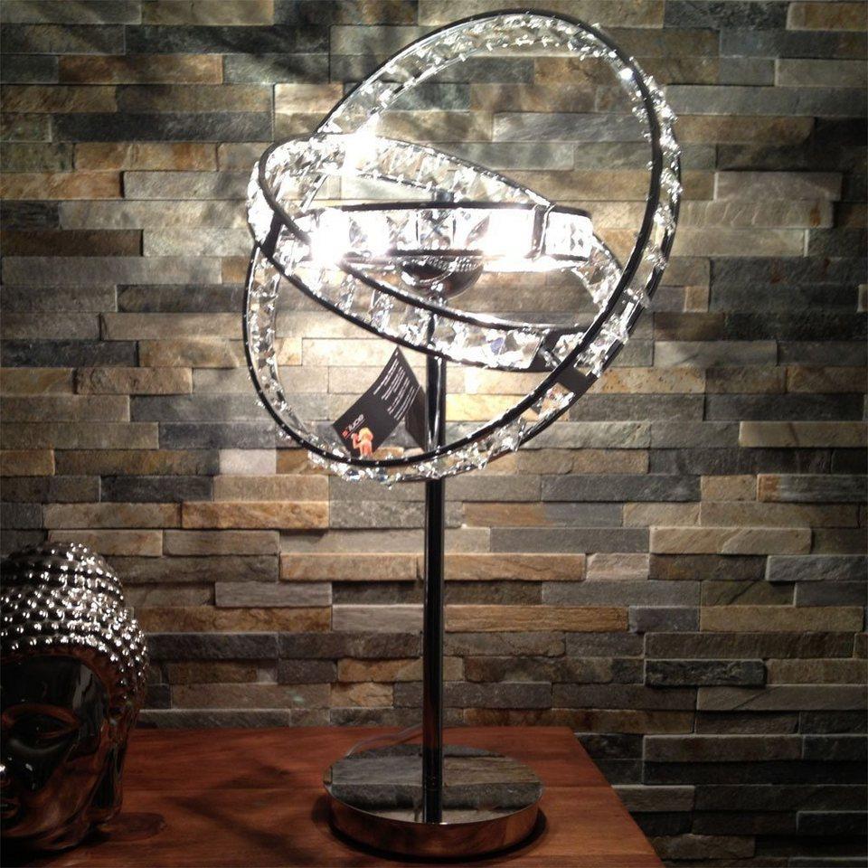 s.LUCE Tischleuchte »Orbit Ø 36 cm mit Glaskristallen« in Silber