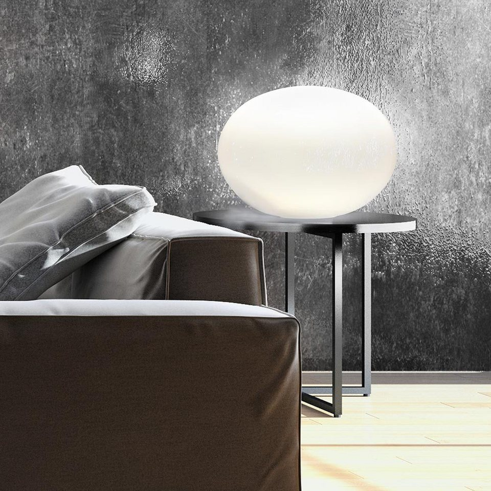 Licht-Trend Tischleuchte »Oval M Glas Tischleuchte Ø 30 cm in Weiss« in Weiß