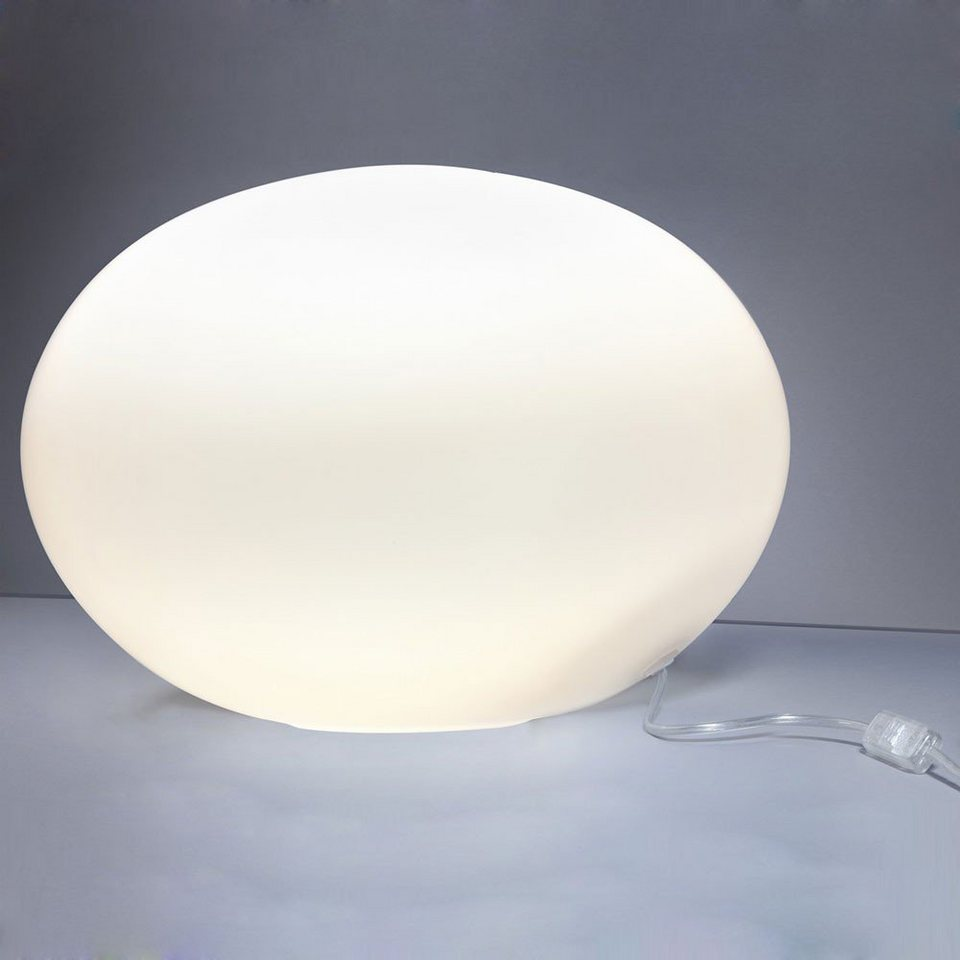 Licht-Trend Tischleuchte »Oval L Glas Tischleuchte Ø 40 cm in Weiss« in Weiß