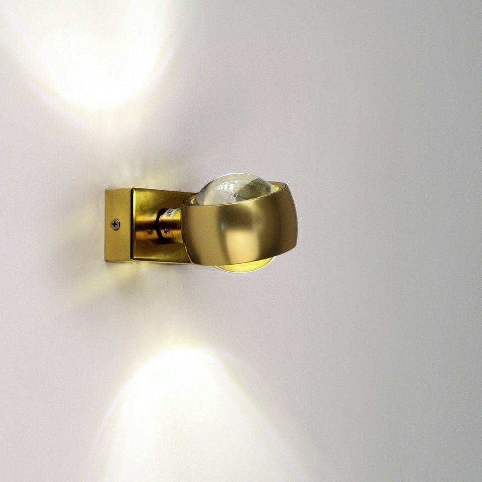 s.LUCE Wandleuchte »Beam Up&Down mit Glaslinsen Goldfarben« in Gold