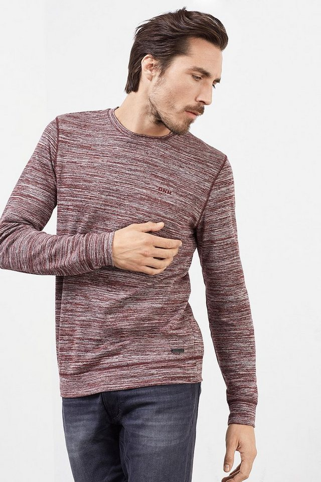 EDC Meliertes Sweatshirt, Baumwoll-Mix in BORDEAUX RED
