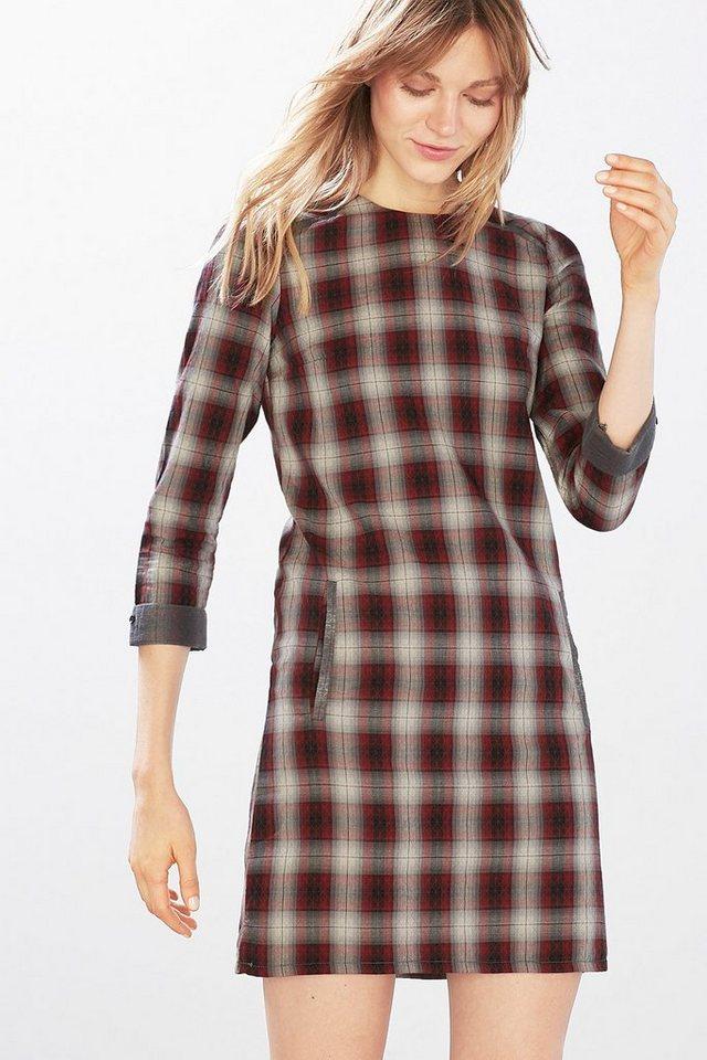 EDC Kariertes Kleid, 100% Baumwolle in BORDEAUX RED