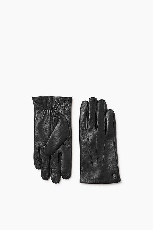 ESPRIT CASUAL Lammleder Handschuhe mit Fleece Futter in BLACK